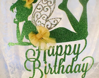 Fairy Cake Topper - Fairy Birthday Party - Fairy Birthday Decorations - Girl Party - Glitter Party - Custom Colors - Happy Birthday - Posh