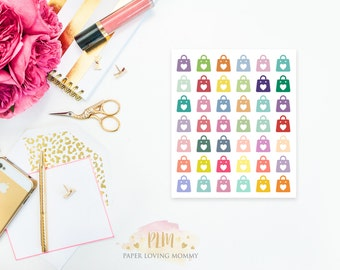 42 Shopping Bag Stickers | Colorful Icon Stickers | Planner Stickers designed for use with the Erin Condren Life Planner | 0601