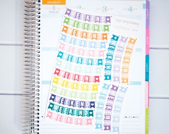 19 Weekend Stickers | Planner Stickers designed for use with the Erin Condren Life Planner | 0918