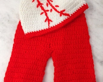 Knitted Baby Boy Baseball Outfit