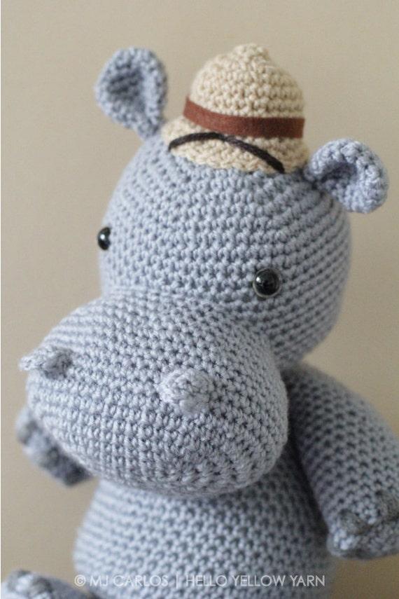 Crochet Amigurumi Hippo PATTERN ONLY, Harvey Hippo, pdf ...