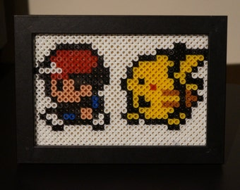 Framed Ash and Pikachu 8 bit Hama Beads