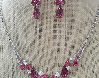 Light Pink and Clear Rhinestone Necklace and Earring Set...Wedding / Bride / Bridesmaid / Flower Girl