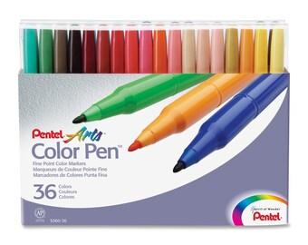 Pentel Arts Color Pen Set of 36 Colors