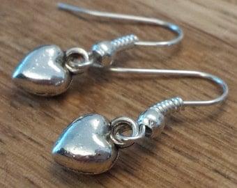 Heart earrings, tibetan silver heart earrings,925 silver,Gifts for her, jewellery