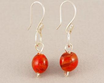 Cherry red drop earrings