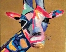 George the Giraffe-  abstract painting, acrylic painting, giraffe, animal painting, vibrant, wall decor, burlap painting