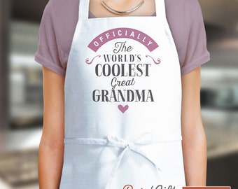 Great Grandma Gift, Birthday Gift For Great Grandma! Funny Apron, Coolest Great Grandma, Cooking Gift, Personalized, Present Great Grandma