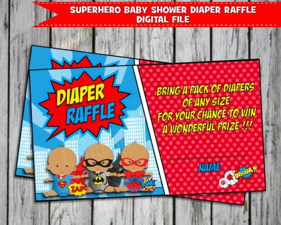 superhero baby shower diaper raffle african american ticket card