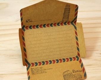 Notepad, 50 small envelopes, retro, kraft paper