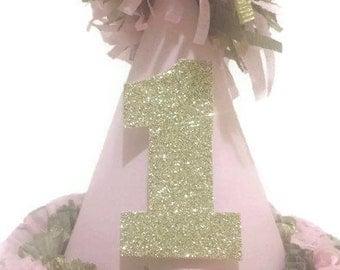 1st First Birthday Pink and Gold Glitter Birthday Hat