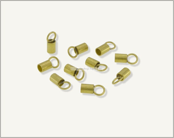 20 pc.+  2.3mm Crimp End Cap, Crimp Ends, Cord Ends, Chain Ends for Cords & Chains - Raw Brass