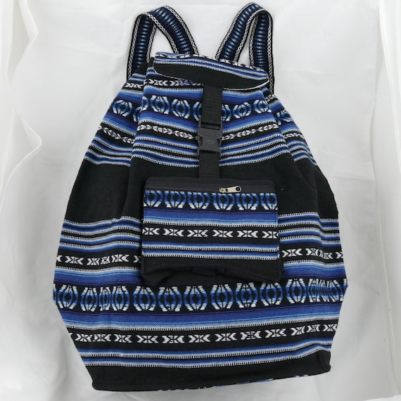 Black and Blue Backpack in Manta Fabric Big Capacity and Expandable, Resistant and Light Weight Unisex