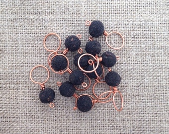 rose bead stitch markers - copper