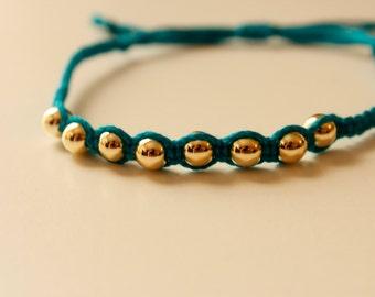 small gold bead friendship bracelet, gold bead knotted bracelet, yoga bracelet