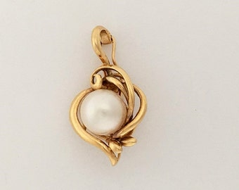 June Birthstone - Antique 14k Yellow Gold White Pearl Pendant