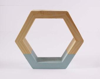 Geometric Hexagon Wooden Shapes / Shadowbox - Set of 3 - Grey Blue