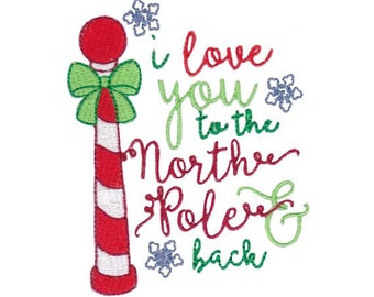 Christmas Sentiments Seven Design 6 Filled Stitch Machine Embroidery Design 4x4 5x7