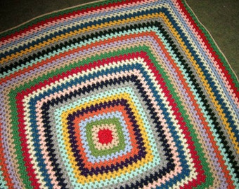 Colourful crochet blanket