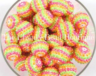 20mm rainbow sherbet stripe rhinestone bead