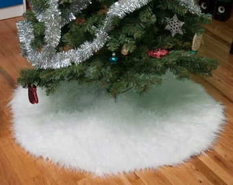 faux fur christmas tree skirt off white - Small Christmas Tree Skirts