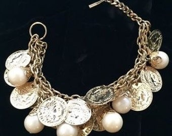 Vintage Coins & Pearls On Three Strand Charm Bracelet