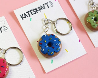 DOUGHNUT KEYRING/KEYCHAIN   Hand Sculpted, Hand Painted Polymer Clay Jewellery Accessory