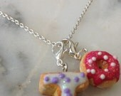 Two Initial and Mini Donut charm necklaces