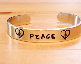 Personalized Peace Heart Peace Sign Hemp Leaf Adjustable Hand Stamped Cuff Bracelet