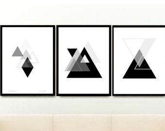 Triptych, Geometric Art Print, Printable Art, Monochrome Art, Triangle Print,  Set Of 3 Prints, Modern Art, Home Decor, wall Decor