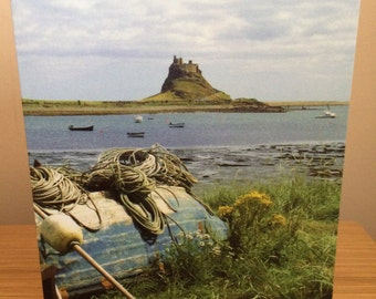 Greeting card with photograph of Holy Island, Northumberland.