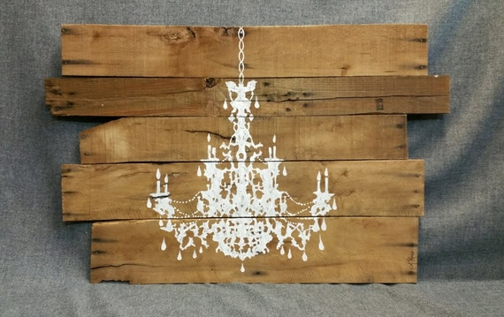 Pallet wall art chandelier painting shabby chic chandelier for Pallet shabby chic