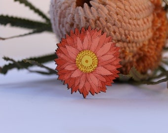 Flower Hair Clip-Flower Hairclip-Handpainted Flower Clip-Wood Hair Clip-Flower Barrette-Australian Wildflower-Red Paper Daisy