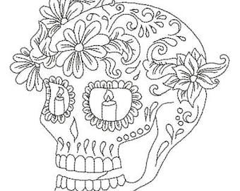 Zen Doodle Sugar Skull Machine Embroidery Design