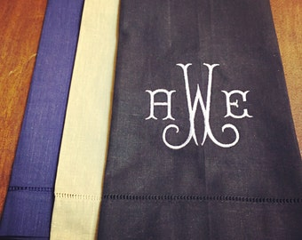 Guest towel with monogram, shirley monogram, 3 color options
