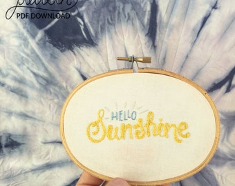Hello Sunshine - 3.5 x 5 Inch Oval Hand Embroidery Pattern Instructions in a Downloadable PDF