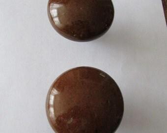 2 Vintage Bennington Doorknob Brown Ceramic Door Knob
