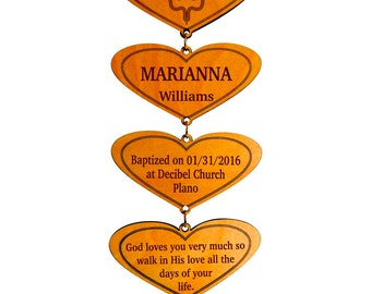 God Parent to Child Baptism Keepsake,Confirmation Gift,Personalized Baptism Hearts,Child Christening Gift,Baptism Blessings Gift,Wall Hearts