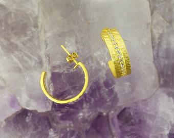 Satin Gold Hoop Earrings,Diamond Raw Earring,Gold Plated Round Hoop Ear Wires,Simple Earrings,Hammered Earrings,CZ Earrings, Hoops Earrings