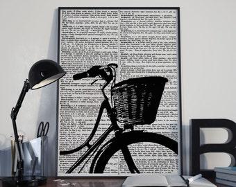 vintage bicycle print, dictionary art print, Vintage dictionary prints