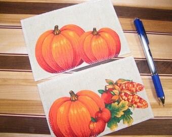 Set of 2 Appliqued Fall Corn, Leaves, Apples,  and Pumpkins Autumn Fabric Postcard Nostalgic Stationary