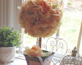 Topiary - flower topiary - topiary centerpiece - wedding topiary -  Mother's Day gift - floral home decor - topiary tree - peony arrangement