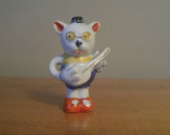 Vintage Cool Cat with Banjo or Guitar. Made in Japan Ceramic Figurine. Anthropomorphic Glasses on Kitty