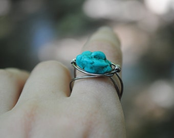 Minimal Wire Turquoise Ring