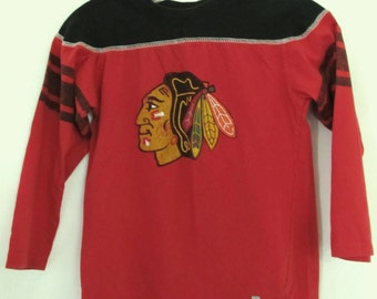 Retro blackhawks etsy for Vintage blackhawks t shirt