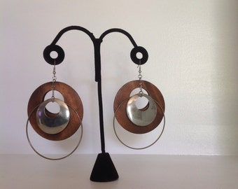 Vintage Wood & Metal Hoop Earrings