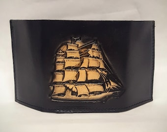 Sail Ship Bifold or Trifold Leather Wallet