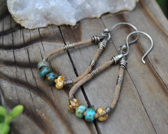Leather Hoop Earrings, Leather and Silver Earrings, Bohemian Style Earrings, Hoop Earrings
