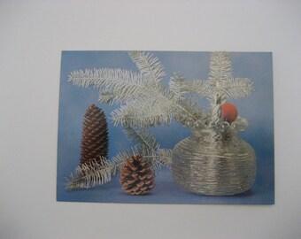 Christmas Postcard Paper Ephemera Unused  Vintage Holiday Postcard Pinecones Postcard Budapest Postcard Paper Ephemera Hungary Postcard