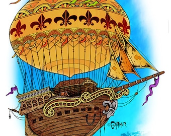 11 x 17 print, air ship, ship, boat, forecastle,  Louisville, Jeff, Gaither,  autographed, signed, giclee